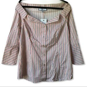 HILARY RADLEY Striped Button Up Top Off Shoulder L